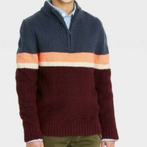 Cat & Jack Boys' Mock Neck 1/4 Zip Striped Sweater